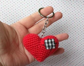 Crochet patched heart crochet heart keychain keychain