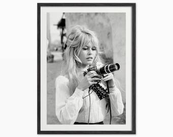 Brigitte Bardot with Camera Art Print