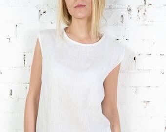 Linen summer top, summer top, linen top, white linen top, tank top, linen tank top, linen shirt, linen tunic top, white linen blouse /LB0001