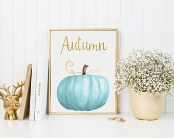 Autumn Print-Blue Pumpkin-Blue Pumpkin Print-Gold Blue Pumpkins-Autumn Fall Decor Print-Printable Wall Art-Wall Art Decor-Instant Download