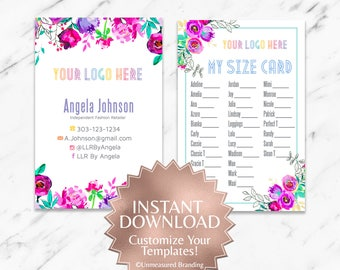 Instant Customizable Floral Fashion Consultant and LLR My Size Card TEMPLATE