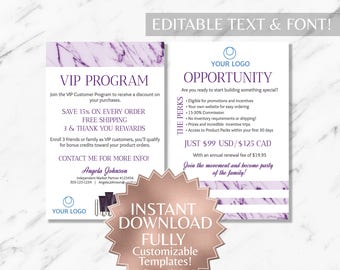 Purple Marble and White Hair Salon and Monat Business VIP Customer and Opportunity Card INSTANT Template