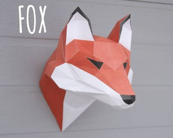 Fox (template) fox head / paper craft fox / Low Polygon / 3D animal wall decor / Fox Art Paper Sculpture / Faux Taxidermy / Wall Mount /