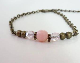 Pink Boho Bronze bracelet - 002