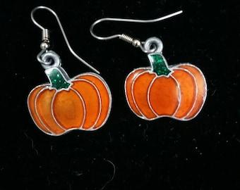Pumpkin fall autumn holloween seasonal pierced earrings
