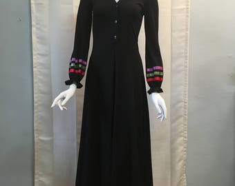 1970's Clovis Ruffin Ruffinwear Black with Multicolor Ribbon Trim Maxi Dress