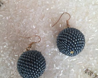 earrings beaded balls jewelry dangle beaded earrings gift for her beadwork seed beads jewelry handmade earrings affordable jewelry gift