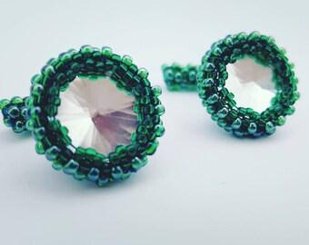 Green glass mirror Cufflinks
