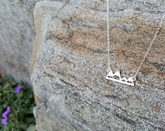 Sterling Silver Mountain Necklace - Mountain Necklace - Minimalist Jewelry- DaintyJewelry- Silver Necklace - Mountain Pendant - Valentine's