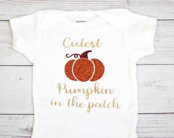 Cutest pumpkin in the patch onesie |  fall onesie,  Halloween onesie, baby girl onesie, thanksgiving onesie, first halloween
