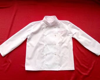 Customizable kids chef jacket,White,cotton