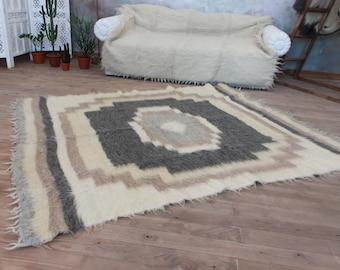 Beige Wool Living Room Rug, Scandinavian Rug, Soft Area Rug, Fluffy Rug,