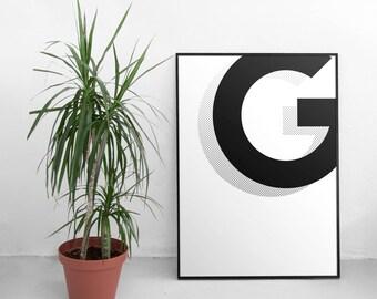 Monogram print - Letter print wall art - Alphabet print - Letter print alphabet decor - Alphabet print nursery - Initial print - Initial art
