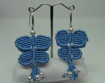 Blue butterfly-shaped earrings macramé
