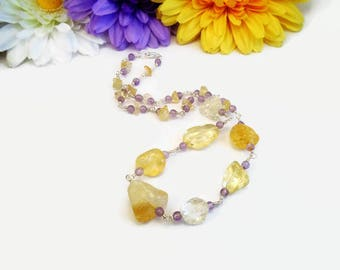 Natural citrine necklace with Amethyst accents, one of a kind (OOAK) jewelry, crystal healing, yellow crystals and stones, Solar Plexus