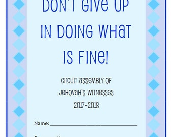 "JW Kids ""Don't Give Up in Doing What is Fine!"" Circuit Assembly Workbook - INSTANT DOWNLOAD Jehovah's Witnesses Bible These Words Printables"