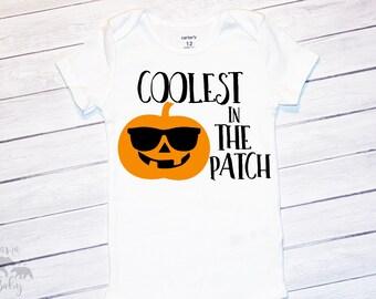 Baby Boy's Halloween Shirt, Thanksgiving Shirt, Halloween Onesie, King of The Patch Onesie, Coolest In The Pumpkin Patch Onesie
