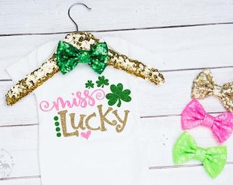 Baby Girls Miss Lucky Onesie, Lucky Shirt, St Pattys Day Shirt, Saint Patricks Day Outfit, Newborn Saint Patricks Day, Toddler St Pattys