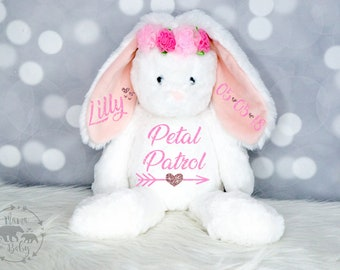 Baby Girls Personalized Flower Girl Bunny Plush, Flower Girl Gift, Flower Girl Present,  Flower Girl Stuffed Animal, Petal Patrol Gift