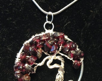 Valentina's Day Garnet Necklace Pendant,Tree of Life Necklace. Artistic Wire Silver Plated.Tarnish Resistant Silver. Silver plated Chain