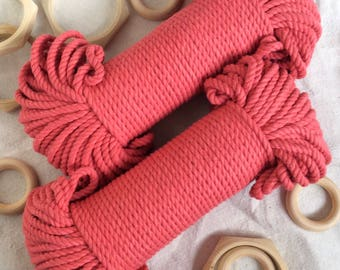 Deep Coral* pink macrame cord, 60 meters, 5 mm thick, 200 feet, macrame rope, pink macrame rope, cotton rope, pink cotton rope