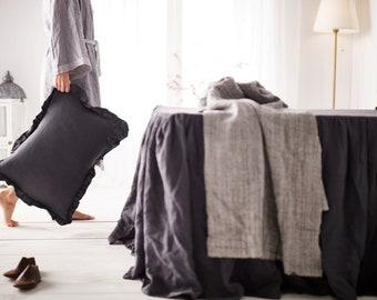Gray linen ruffled sham -15 colors-linen pillowcase- linen pillow cover- Ruffled pillow sham -Available sizes #Secret maison#