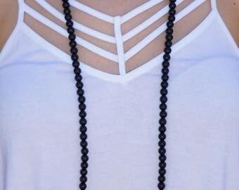 Trent // Black Double Wrap Necklace