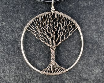 Tree-Of-Life Necklace Pendant Tree-Of-Life Jewelry Family Tree Silver Pendant Wire Tree Of Life Wire Wrapped Pendant Silver tree jewelry