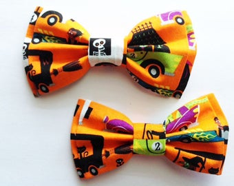 Halloween Bow Ties,Dad and Son Bow Ties, Father Son Bow Tie, Mens Bow Tie,Orange, Halloween Bow Tie,Mens Bowtie, Bow Tie, Boys Bow Tie DS714