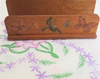 Vintage Wooden Decoupage Letter Rack, Butterflies, Birds