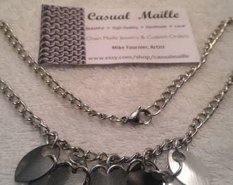 """Anodized Aluminum Small Scale Bib Necklace 18"""" (this pattern)"""
