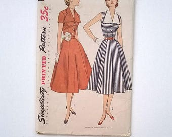 Vintage 1950s Pattern for Dress with Detachable Collar - Simplicity 3847 - Bust 38 - Uncut Sewing Pattern