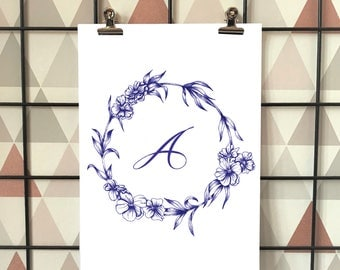 Blue ink Personalised Initial Floral Wreath Print, Illustration A3, A4, A5