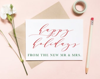 happy holidays from the new mr and mrs, happy holidays card, merry christmas card, newly wed holiday card / SKU: LNHO04