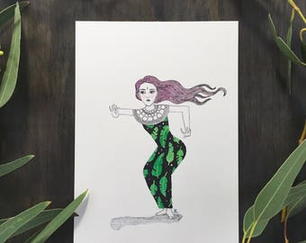"Original Watercolor Ink Illustration A5 (5.8x8.3"") - Balinese Dancer"