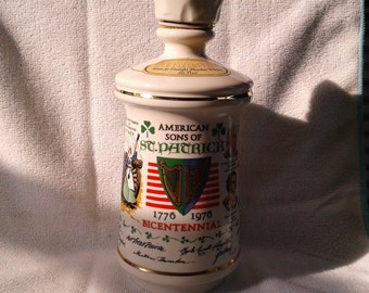 """1976 """"American Sons of St. Patrick"""" Genuine Porcelain Decanter"""