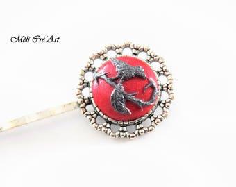 Bun cabochon Ruby Red Stone silver bird Bobby pin hair clips