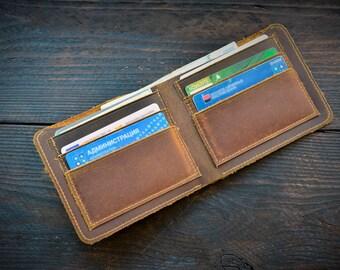 Vintage Wallet Mens, Brown Leather Wallet, Mens Gift, Slim Leather Wallet, Scratch Leather Wallet, Genuine Leather Wallet
