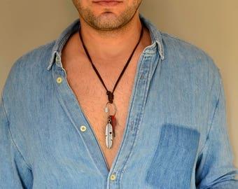 Leather Necklace Men, Feather Necklace, Men Leather Necklace, Retro Pendent, Mens Necklace,  Vintage Mens Necklace, Necklace For Men