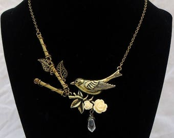"Spring's Songbird Necklace - ""Out on a Limb"""