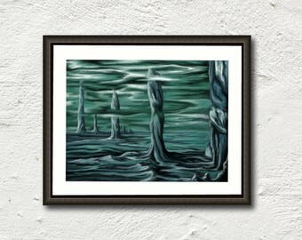 Print art fantastic turquoise and blue - Scape, underwater background - digital painting - reproduction art fantasy wall