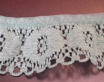 Vintage Teal Lace Trim sewing trim, craft trim, doll trim, sewing lace blue lace