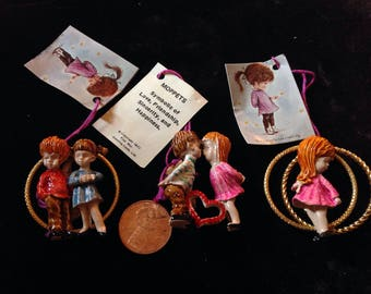3 Vintage 1971 Moppets , signed Fran Mar Lot of 3 Adorable Pins ,New Old Store Stock from 1970's