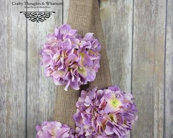Purple Lavender Hydrangea Burlap Door Hanger Wreath, Door Hanger, Hydrangea Decor, Purple Hydrangea, Purple Floral Decor, Floral Door Hanger