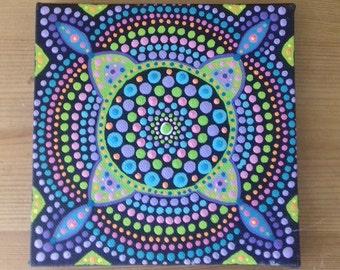 Mandala Art, Painting , dots, Wall Art, canvas art, green, purple, ready to hang, boho, eastern art, boho gift, boho home, original painting