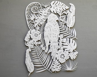 Tropical Palm Tree Papercut, Handcut cheese plant leaves, bird, parrot, cut out gift art