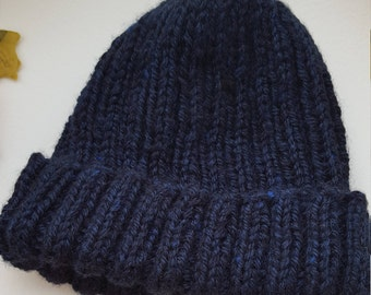 Adult's Beanie hat, Handmade, Designed, Hand knitted Navy Blue Synthetic Wool, Warm Winter hat, Handmade, Gift, Treat, Camping, Walks, Comfy