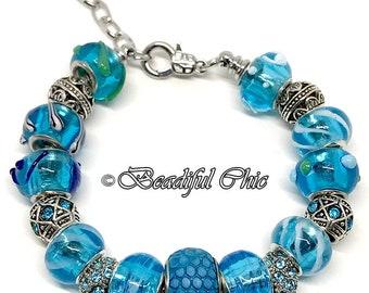 Blue Lagoon European Style Charm Bracelet