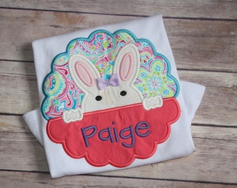 Girls Peeking Easter Bunny Appliqué Shirt, Personalized Girls Easter Appliqué Shirt, Peeking Easter Bunny Shirt