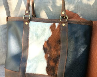 Deluxe Leather Tote w/ Hair-on Hide